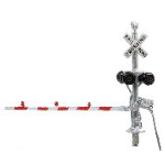N scale dual grade crossing signals with red and white gates